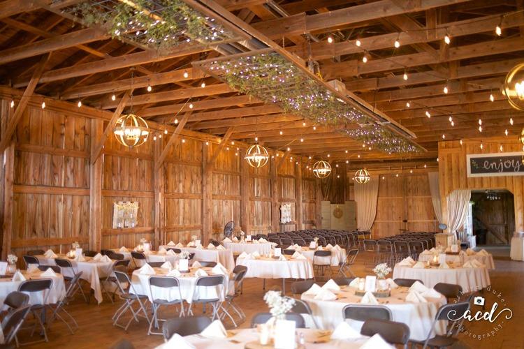 Port Farms indoor barn wedding reception decorations