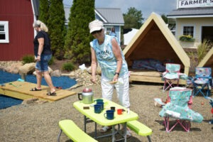 A woman participating in Port Farms's fun activities.